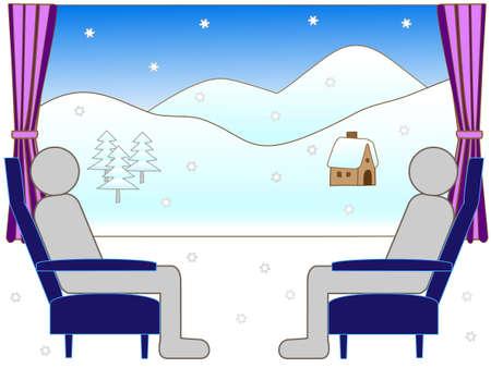 reclining: Winter train travel