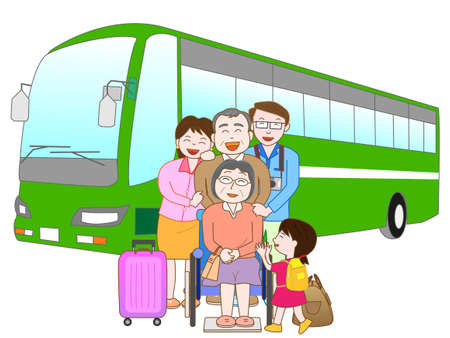 third age: Bus travel with family Illustration