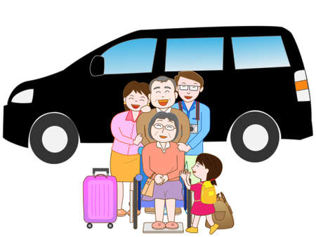third age: Car travel with family Illustration
