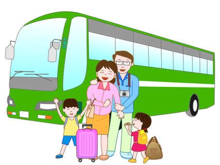 Bus reizen in de familie Stock Illustratie