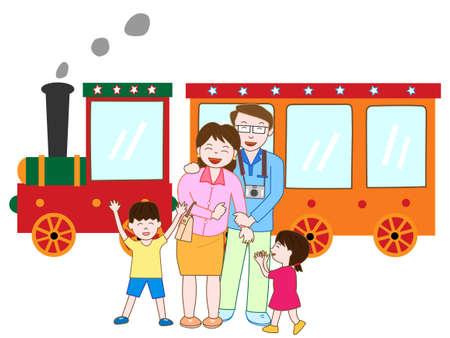 Family ride steam locomotive Illustration