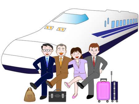 shinkansen: By train traveling businessman.