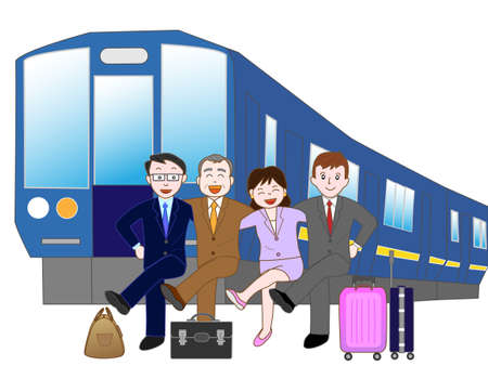 shinkansen: Train with a traveling businessman.