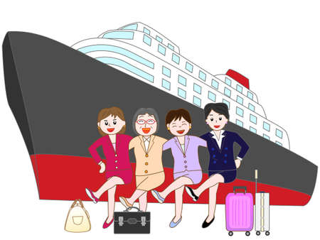 Business woman to travel by ship 向量圖像