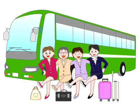 ski pass: Business woman to travel by bus Illustration