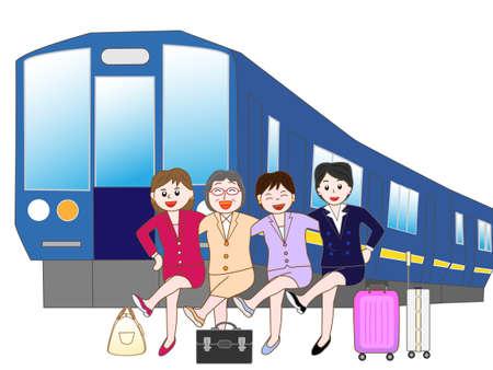 shinkansen: Business woman to travel by train Illustration