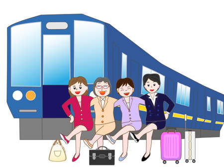 Business woman to travel by train Illustration