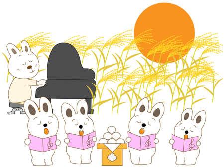Conejo concierto de luna llena Ilustración de vector