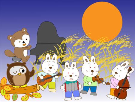 escuela infantil: Los animales de la noche del concierto de luna llena Vectores