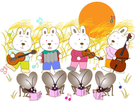 harvest moon: Insects and a full moon concert Illustration