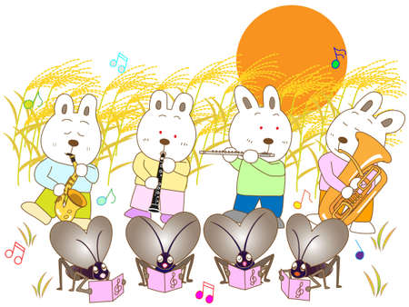 Insects and a full moon concert Illustration