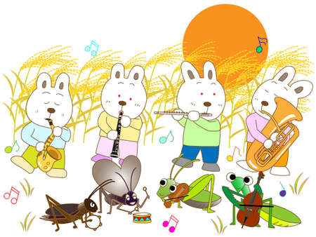 the pampas: Insects and a full moon concert Illustration