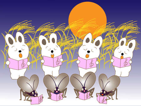 Full moon rabbit, and insect chorus