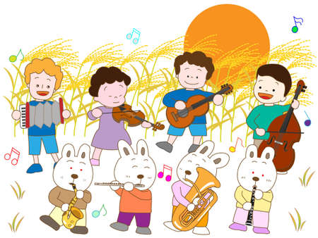 harvest moon: Concert for the children of the night of the full moon and the Hare Illustration