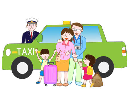 Family travel offers a taxi Illustration