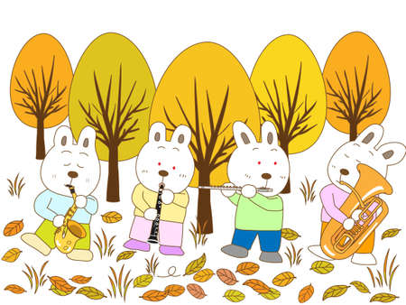 late autumn: Rabbit fall concert Illustration
