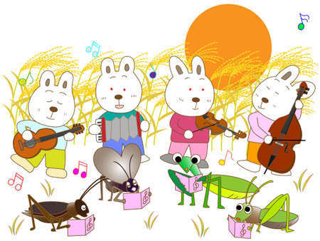 bugs bunny: Insects and a full moon concert Illustration