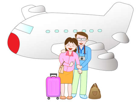 family holiday: The couple travel by plane
