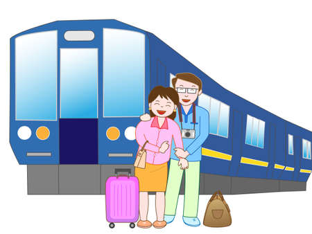 Travel by rail couple