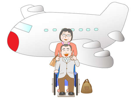 Senior couple to travel by airplane Illustration
