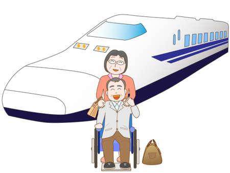 Senior couple to travel by train Illustration