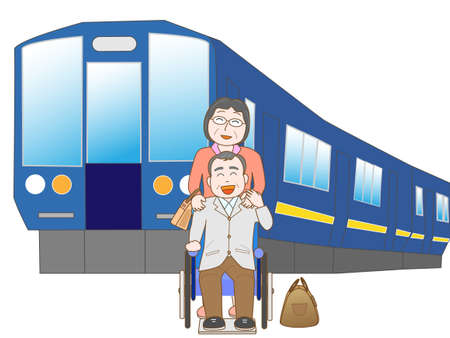 Senior couple to travel by train Illustration