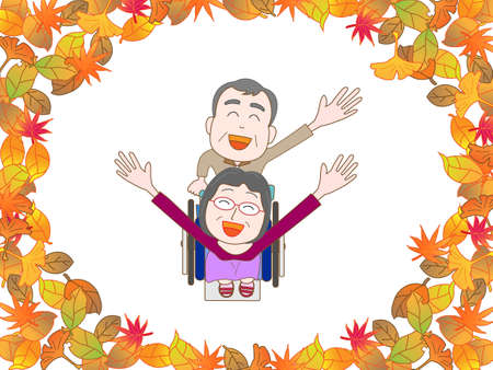 nursing care are for seniors: For the elderly in wheelchairs to walk in the autumn Illustration