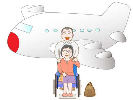 senior couple: Senior couple to travel by airplane Illustration