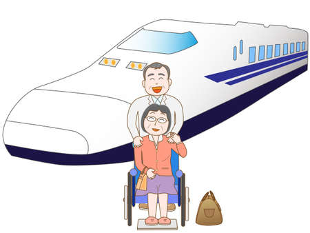 high speed train: Senior couple to travel by train Illustration