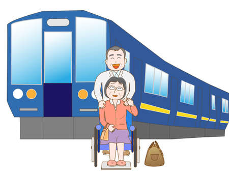 senior couple: Senior couple to travel by train Illustration
