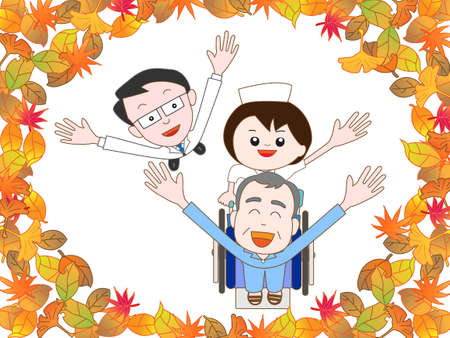 nursing care are for seniors: For the elderly in the hospital to take a walk in the autumn