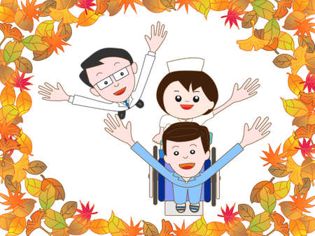 rehab: Patients in the hospital to take a walk in the autumn Illustration