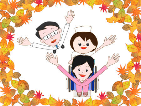 home care nurse: Patients in the hospital to take a walk in the autumn Illustration