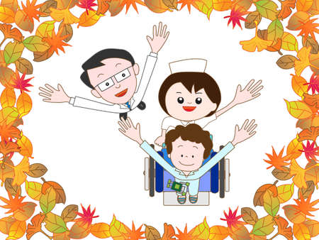 home care nurse: Children in the hospital to take a walk in the autumn Illustration