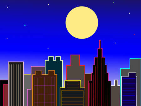 harvest moon: Office District on the night of the full moon Illustration