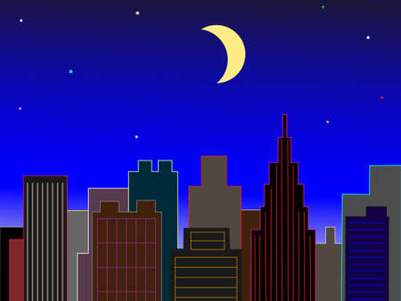 harvest moon: Downtown at night of the Crescent Moon