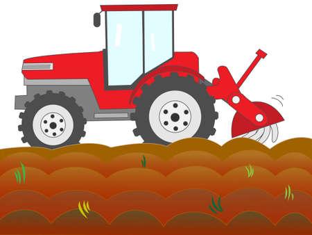 plow: Tractor plow a field