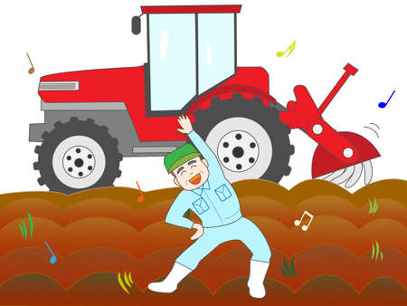 On the sidelines of the labour for farming farmers exercise Illustration
