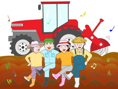 In de marge van een boerenfamilie in de uitoefening Stock Illustratie