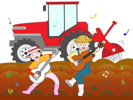 On the sidelines of the labour for farming to play in a couple. Illustration