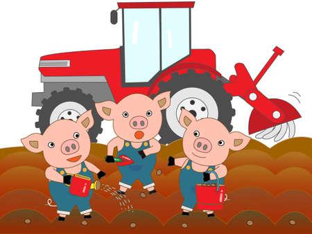 雌豚子豚  イラスト・ベクター素材