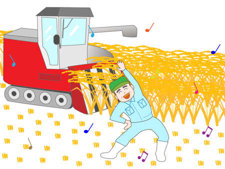 harvesting rice: During the harvesting of the rice farmers workout Illustration