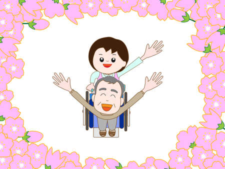nursing care are for seniors: Cherry blossoms in full bloom in wheelchairs for the elderly to walk.