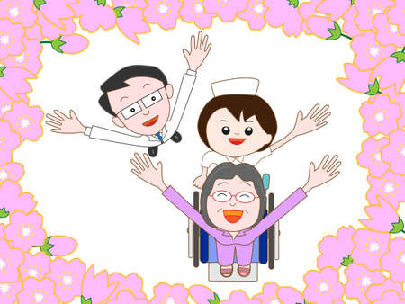 hospitalized: An elderly stroll in the cherry blossoms in full bloom in hospitalized patients Illustration