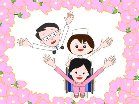 patients: Hospitalized patients to walk in the cherry blossoms in full bloom Illustration