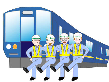 jr: Railway workers exercise Illustration