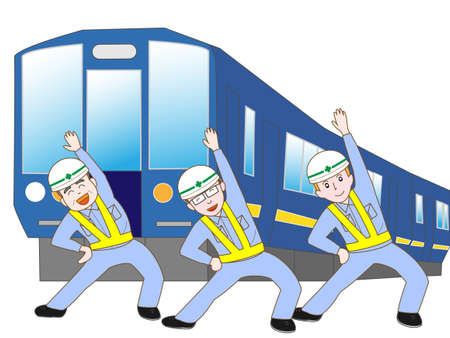 Railway workers exercise Illustration