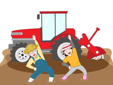 農作業の合間に運動します。