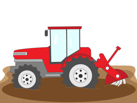 Tractor ploughing the paddy fields. Illustration