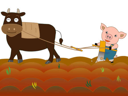 husbandry: To farming cattle and swine Illustration